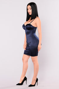 Gleam Satin Dress - Navy
