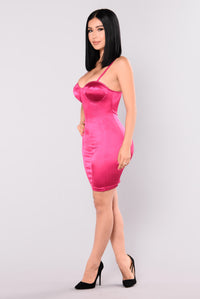 Gleam Satin Dress - Magenta