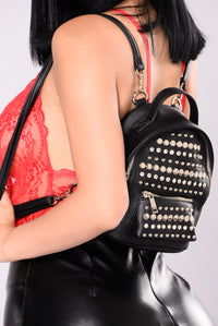 Zandra Studded Backpack - Black