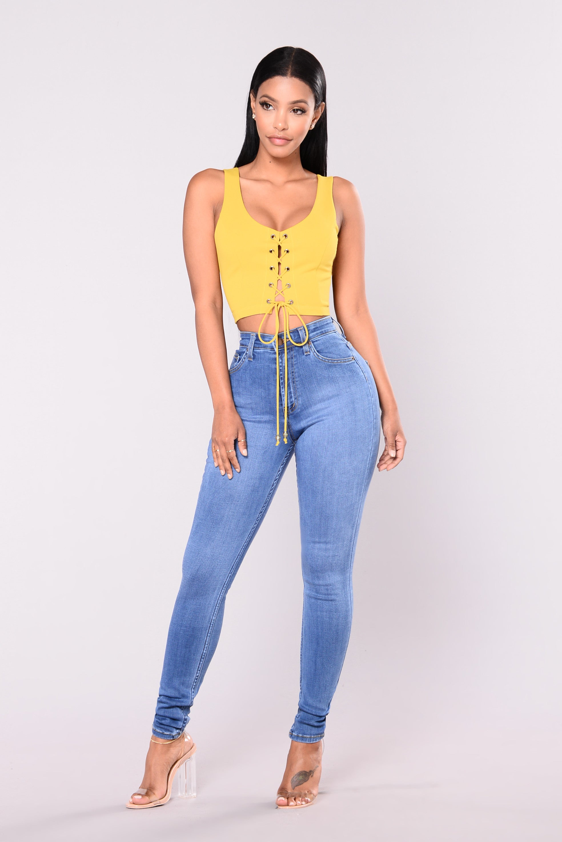 precious fit high waisted jean  medium
