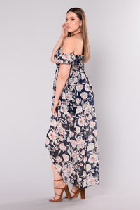 Frolicking Floral Dress - Navy Floral