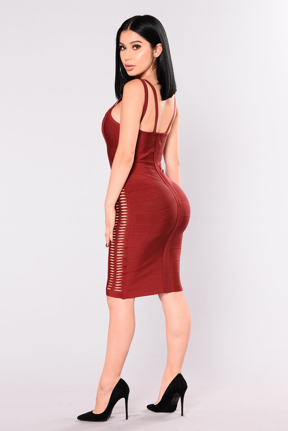 Geri Bandage Dress - Burgundy