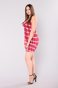 Likeable Tie Dye Dress - Burgundy