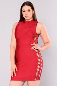 Versilla Bandage Dress - Burgundy