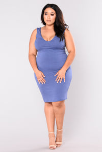 Holding Hands With You Mini Dress - Denim Blue