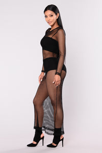 Shanice Fishnet Dress - Black