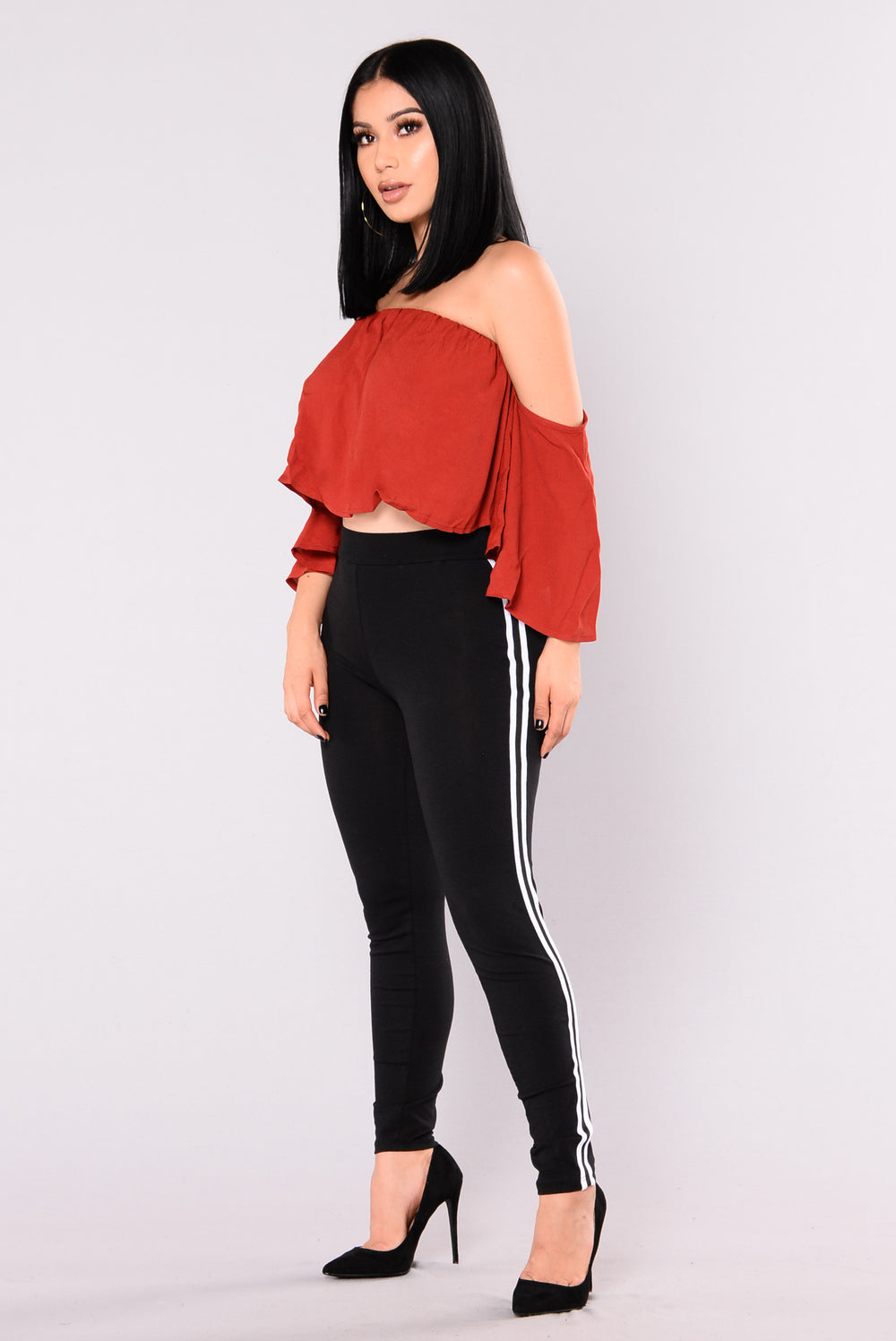 Yes Please Off Shoulder Crop Top - Burgundy