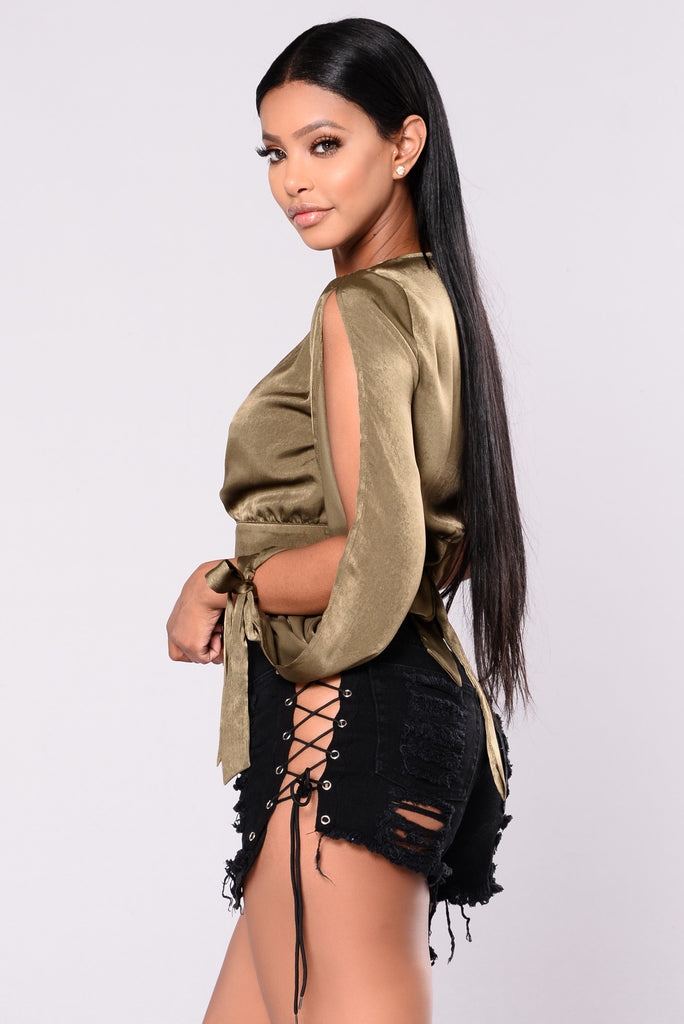 Mask Off Satin Crop Top - Olive