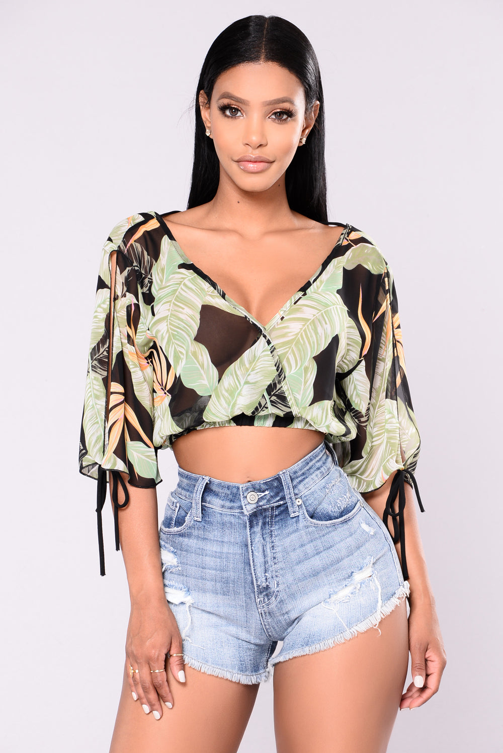 In The Tropics Crop Top - Black/Floral