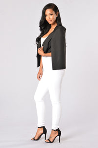 On a Break Cape Blazer - Black