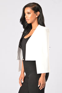 On a Break Cape Blazer - White Angle 6