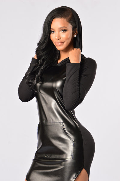 Ambition Hoodie Dress - Black