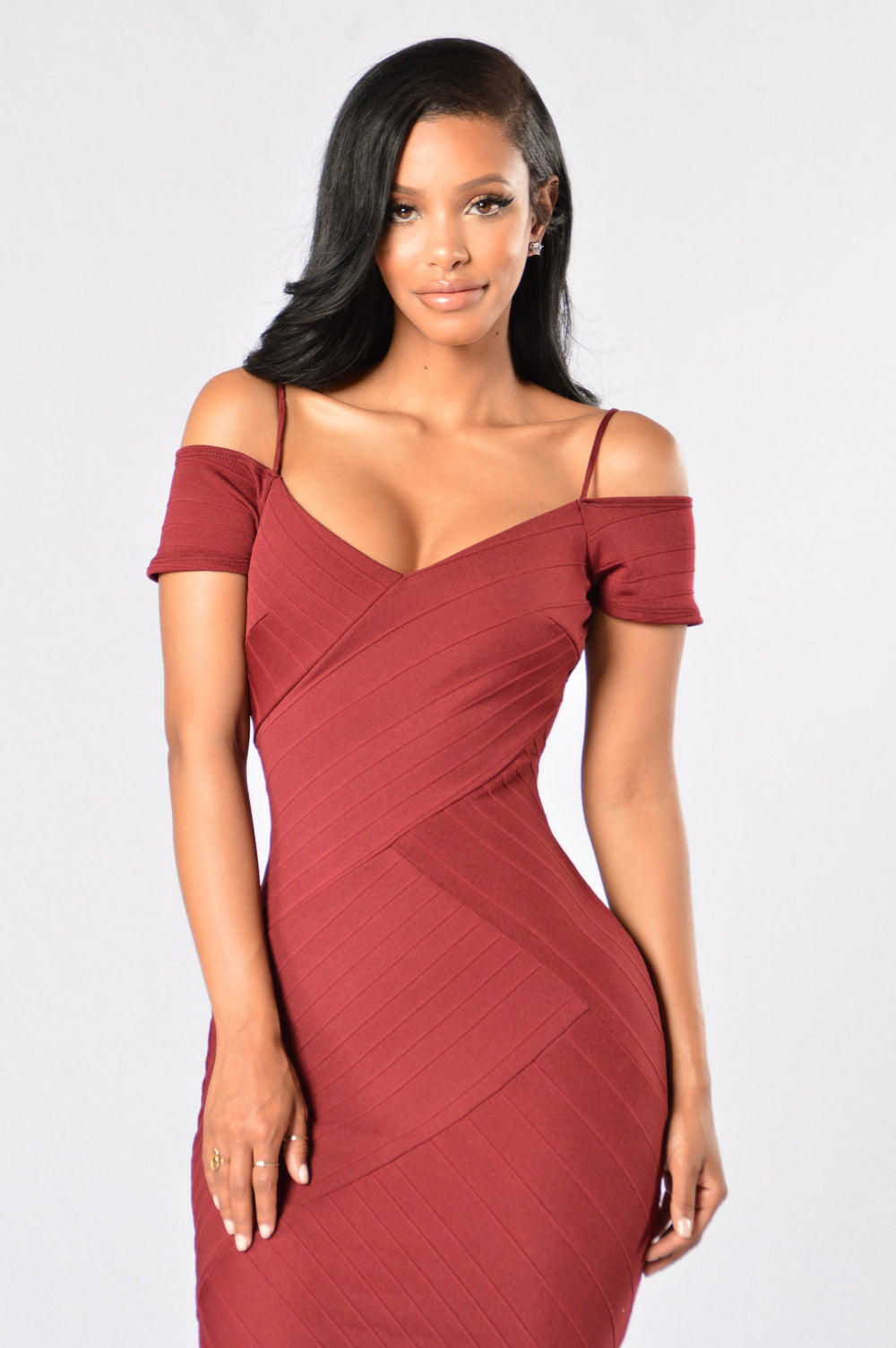 Candlelit Dinner Dress - Burgundy