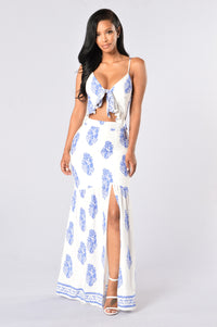 Doheny Dress - White/Royal
