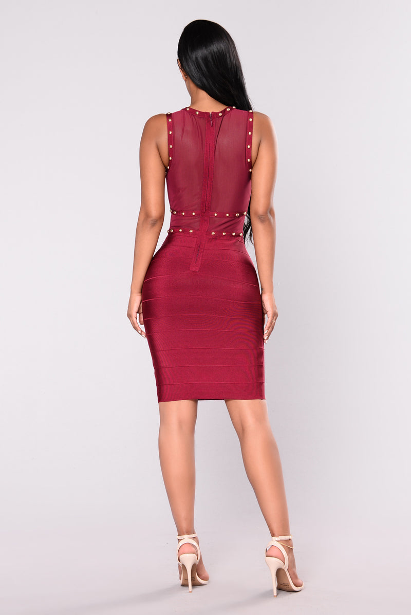 Diana Studded Dress - Merlot