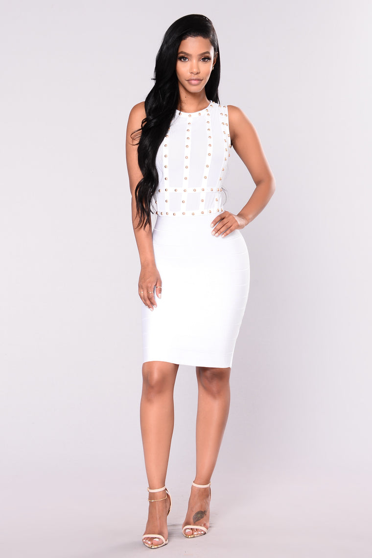 Diana Studded Dress - White