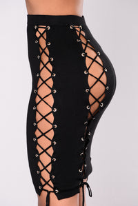 Tie Me Up Lace Up Set - Black