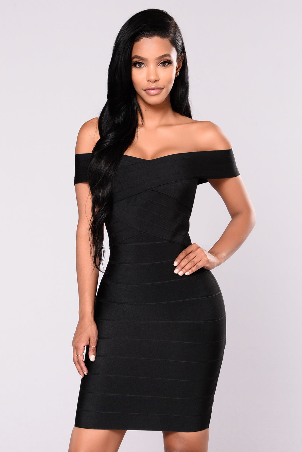 Cross My Body Dress - Black