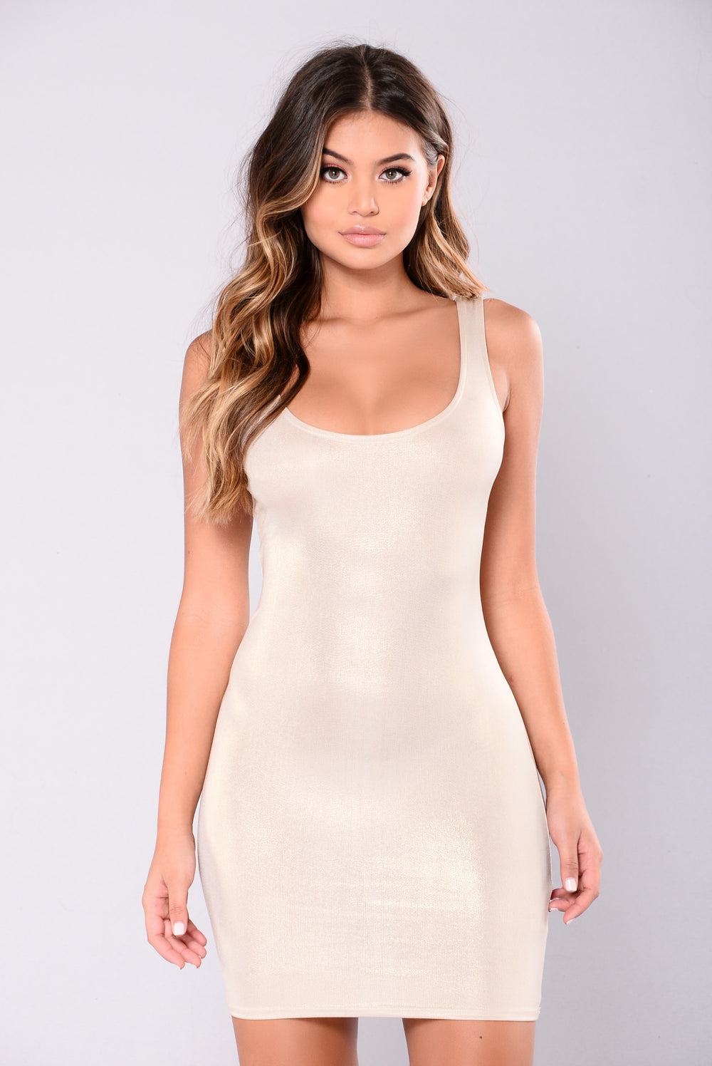 Dulcie Foil Dress - Gold