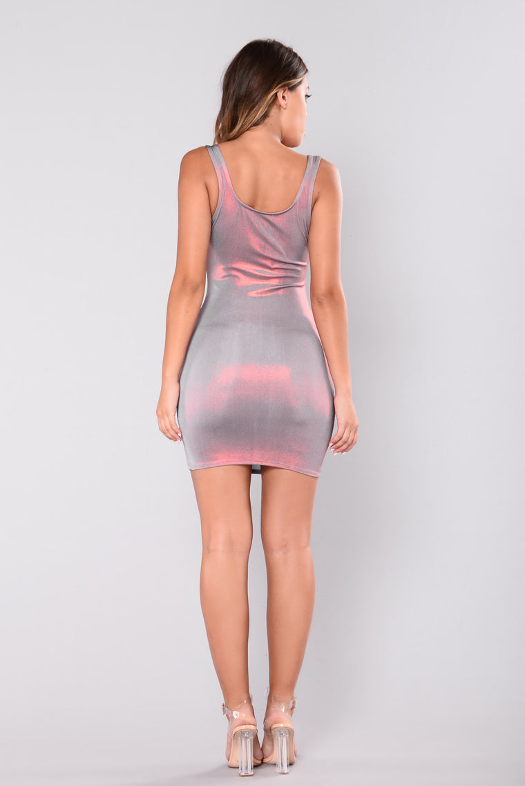 Dulcie Foil Dress - Burgundy