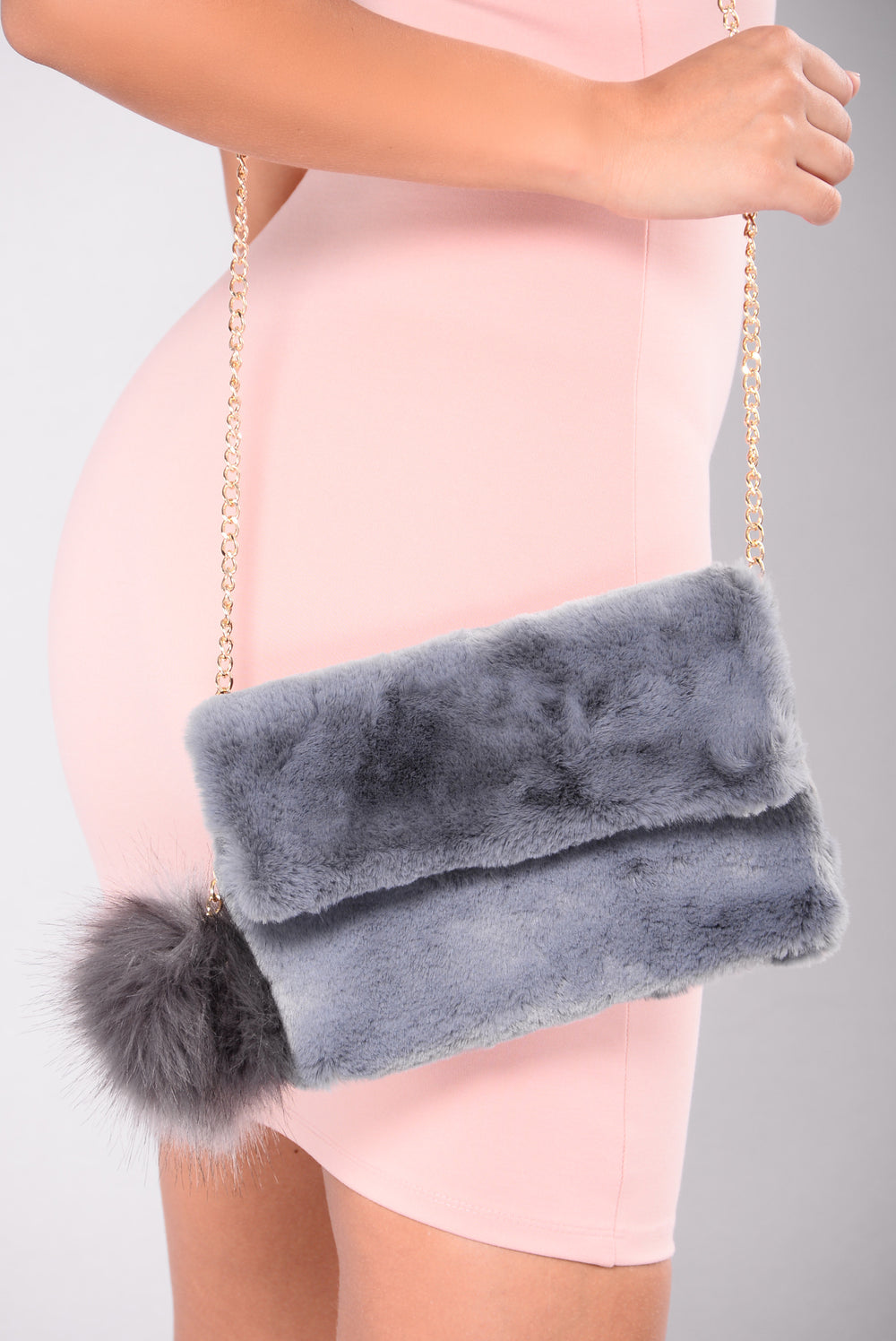 Aviana Fur Crossbody - Grey