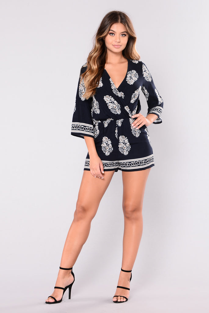 You Have To Be A Star Romper - Navy