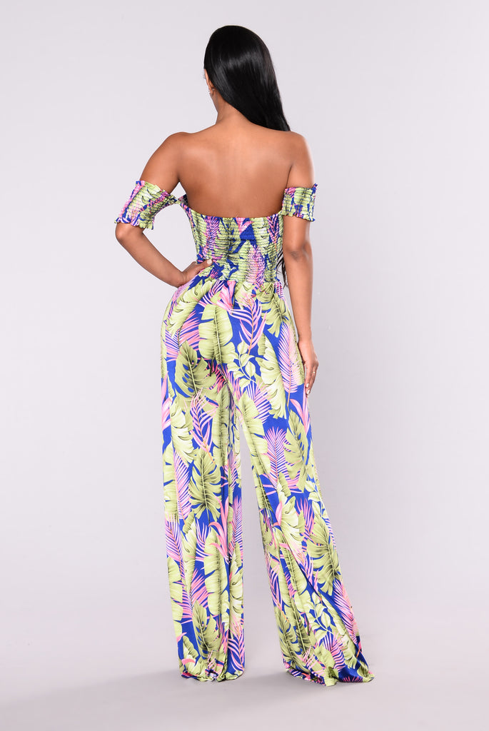 Seychelles Floral Jumpsuit - Royal/Green
