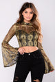 Hailee Bell Sleeve Top - Black/Gold