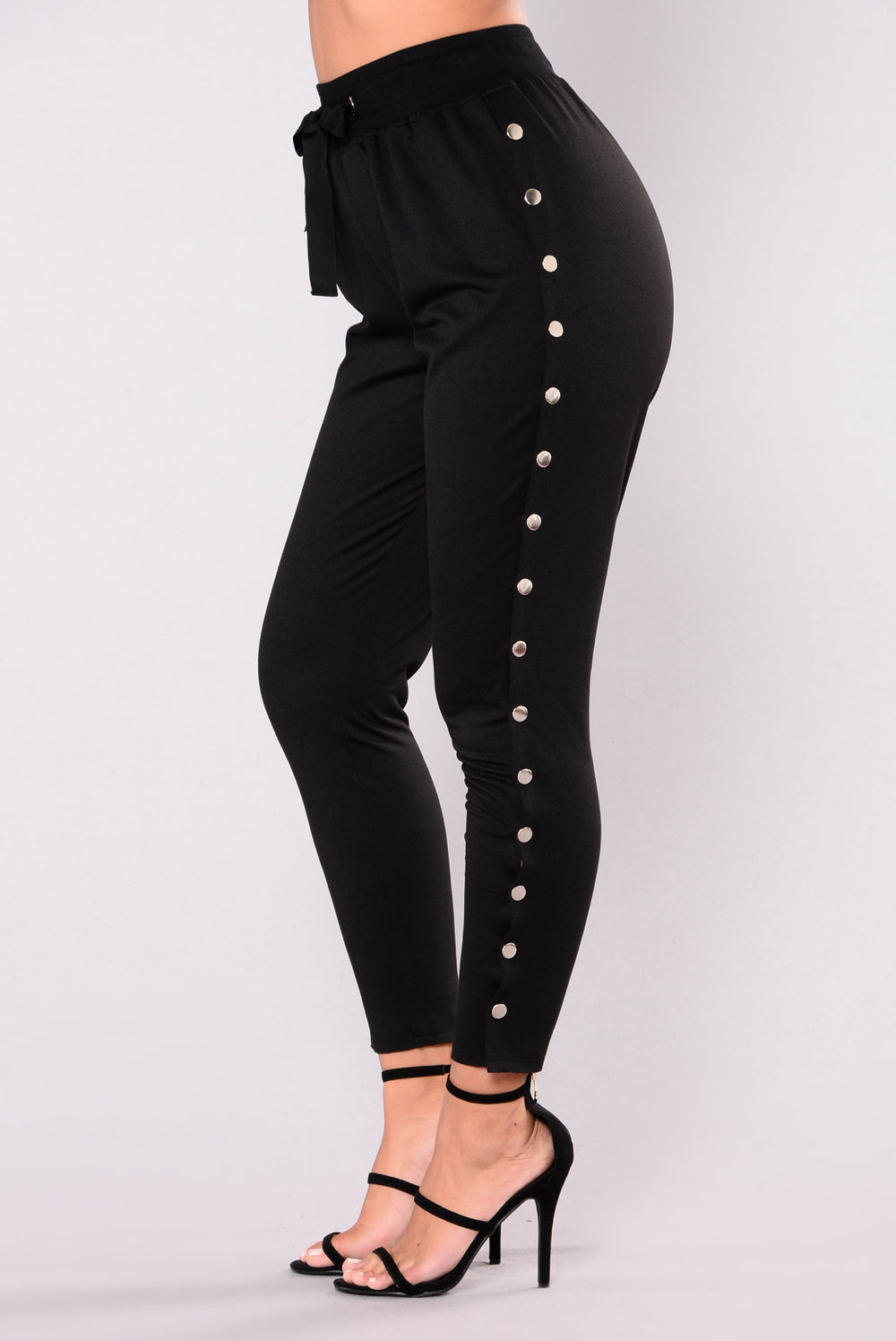 Skipping Stones Button Up Pants - Black