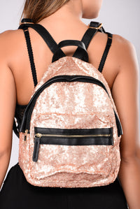 Imani Sequin Backpack - Khaki