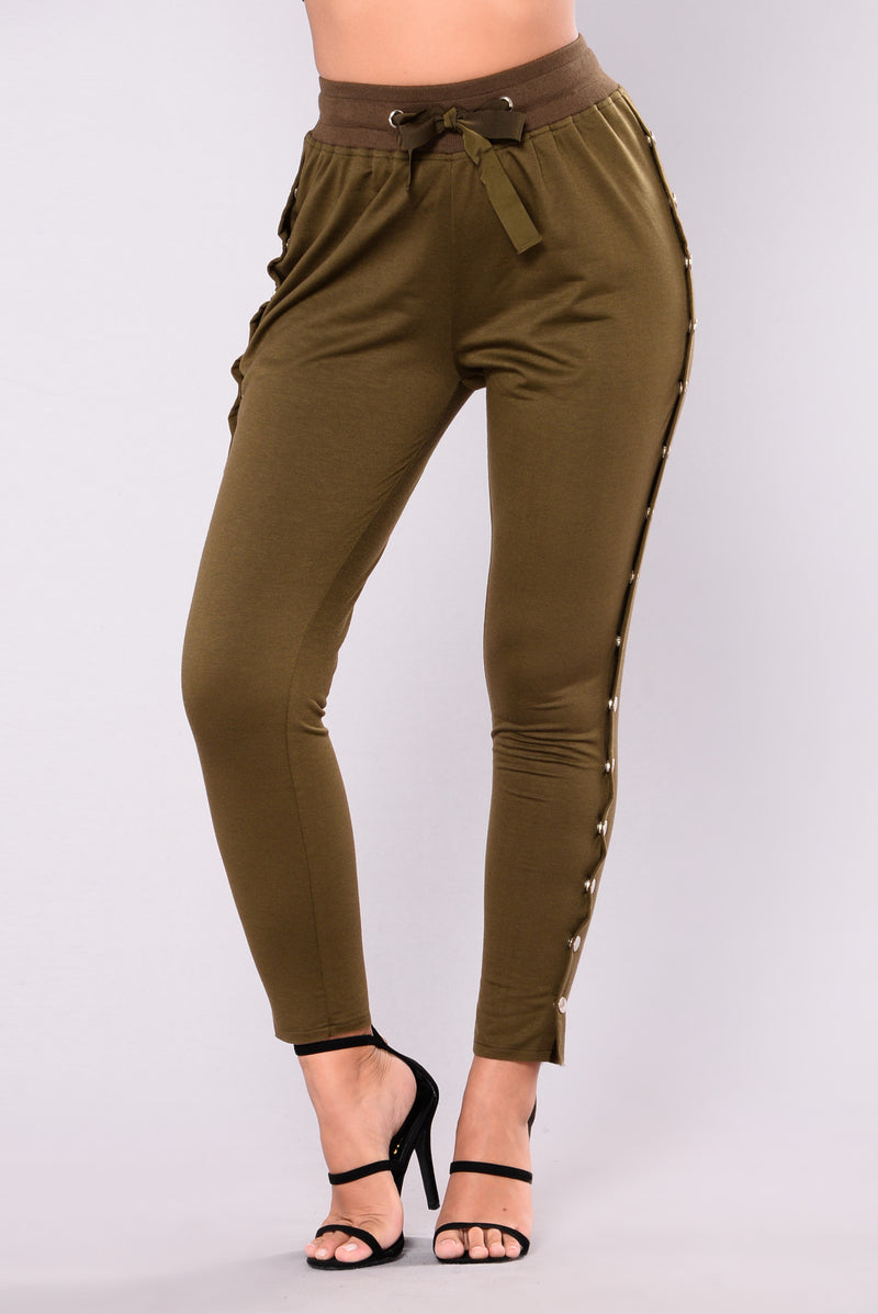 Skipping Stones Button Up Pants - Olive