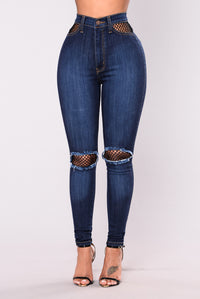 Royce Fishnet Pocket Jeans - Dark Blue