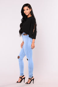 Royce Fishnet Pocket Jeans - Light Blue