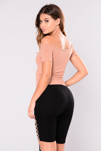 Ophelia Off Shoulder Top - Dusty Rose