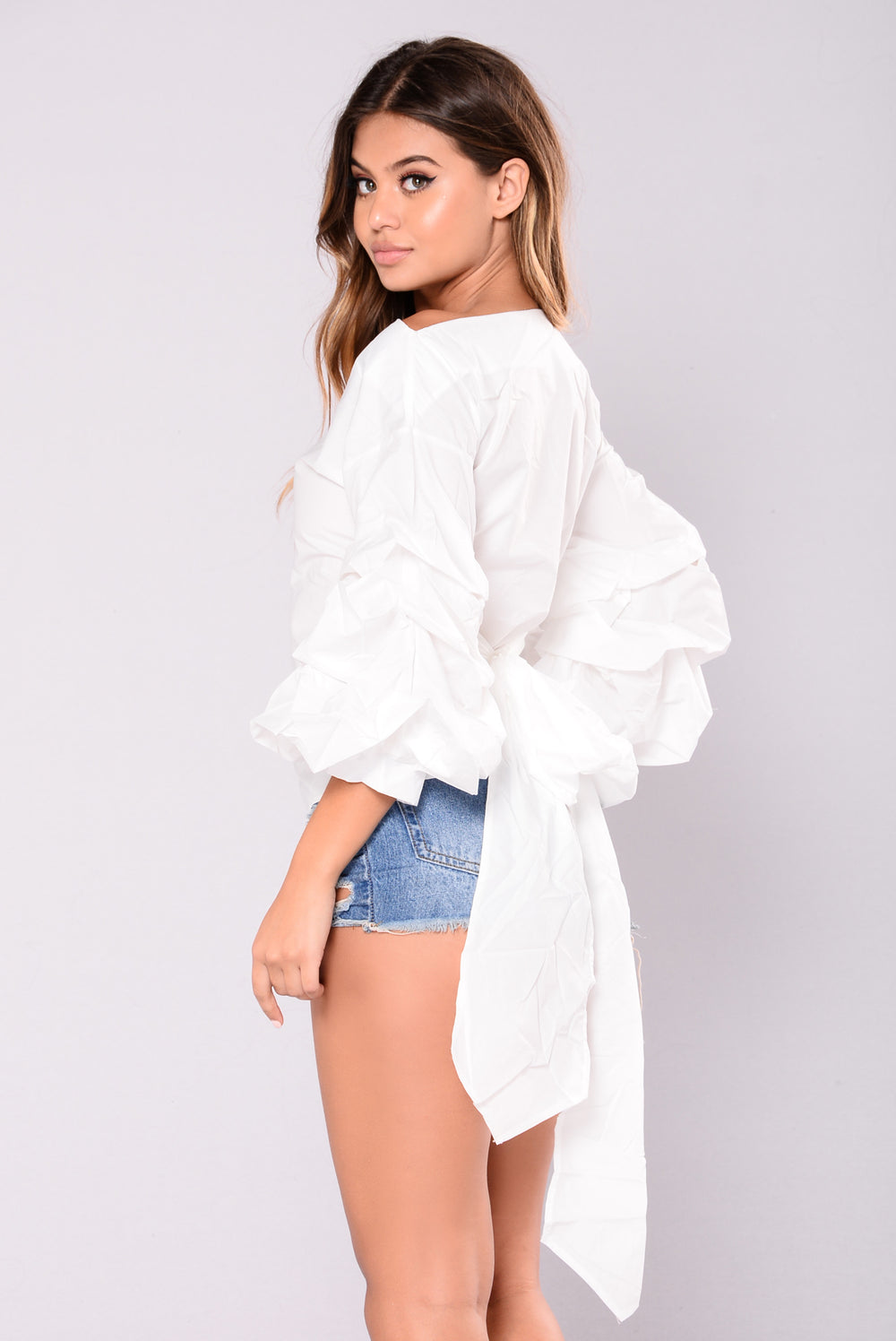 Mary Lou Puff Sleeve Top - White