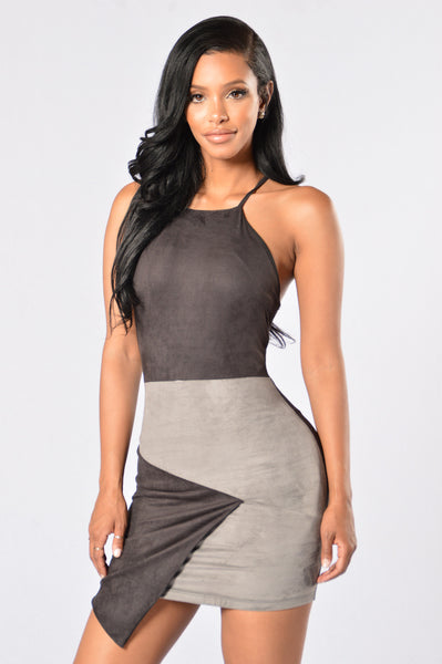 Suede Persuasion Dress - Black/Grey