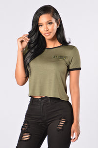 Sergeant Pepper Crop Tee - Olive Angle 1