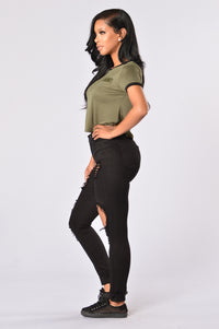 Sergeant Pepper Crop Tee - Olive Angle 6