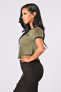 Sergeant Pepper Crop Tee - Olive Angle 4