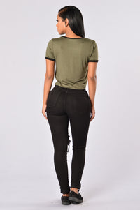 Sergeant Pepper Crop Tee - Olive Angle 7