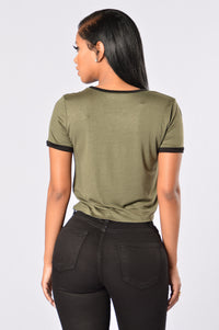Sergeant Pepper Crop Tee - Olive Angle 3