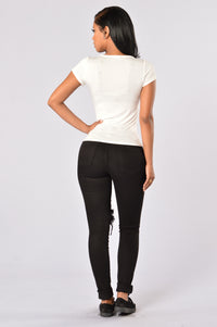 Polly Pocket Crop Tee - Ivory/Black
