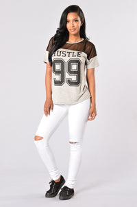Hustle 99 Tee - Heather Grey/Black Angle 4
