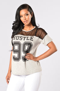 Hustle 99 Tee - Heather Grey/Black Angle 1