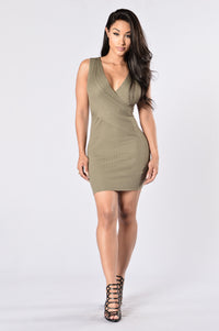 Cross Your Heart Dress - Olive Angle 1