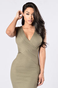Cross Your Heart Dress - Olive Angle 2