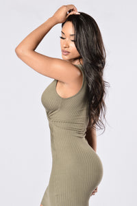 Cross Your Heart Dress - Olive Angle 4