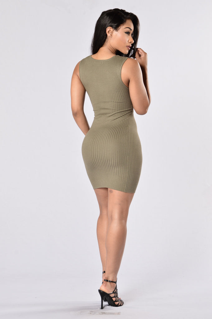 Cross Your Heart Dress - Olive
