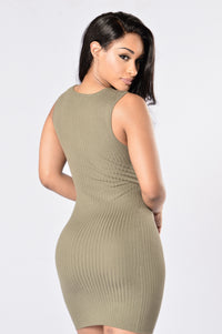 Cross Your Heart Dress - Olive Angle 3
