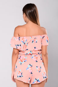 Driving In The Sun Floral Romper - Coral